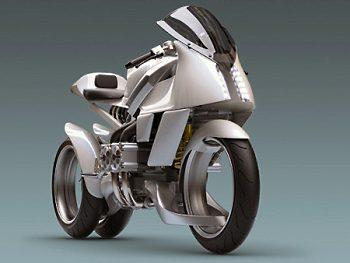 Необычный мотоцикл с колесами без спиц