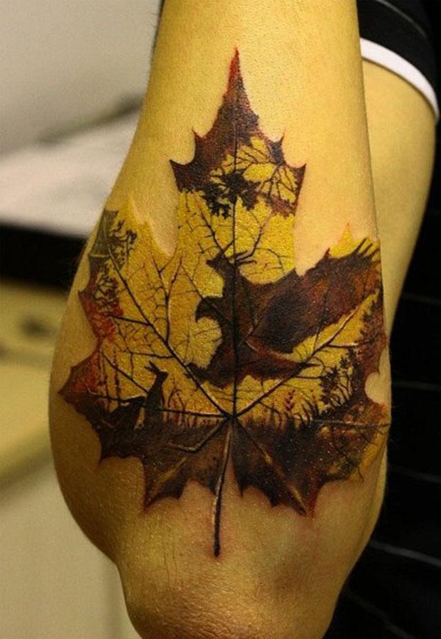 Тату листья на руке