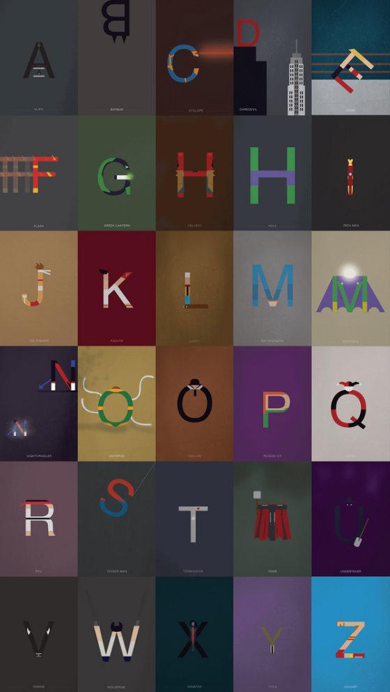 Необычный алфавит с иконами поп-культуры